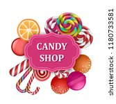 candy shop label concept banner.... | Shutterstock .eps vector #1180733581