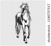 horse. black and white... | Shutterstock .eps vector #1180737517