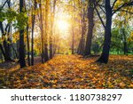 alley in the sunny autumn park | Shutterstock . vector #1180738297