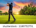 golfer hitting golf shot with... | Shutterstock . vector #1180752751