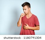 young man coughs  medicine...   Shutterstock . vector #1180791304