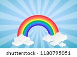 cloud and rainbow in blue sky... | Shutterstock .eps vector #1180795051