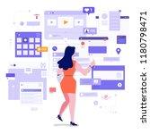 flat design concept social... | Shutterstock .eps vector #1180798471