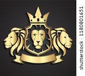 lion 3d golden heraldry logo... | Shutterstock .eps vector #1180801651