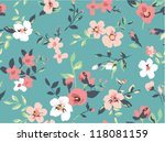 Stock vector seamless cute vintage tiny flower with leaf pattern background 118081159