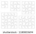 jigsaw puzzle vector set | Shutterstock .eps vector #1180833694