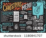 christmas menu template for... | Shutterstock .eps vector #1180841707