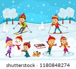 kids boys and girls play... | Shutterstock .eps vector #1180848274