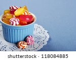 Colorful Candy In A Blue...