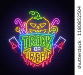 happy halloween neon sign ... | Shutterstock .eps vector #1180852504