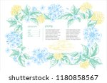 realistic botanical color ink... | Shutterstock .eps vector #1180858567