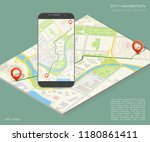 city map route navigation... | Shutterstock .eps vector #1180861411