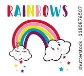 text rainbow girl cloud tee art ...   Shutterstock .eps vector #1180876507