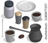 coffee set. cup  bean  cezve...   Shutterstock .eps vector #1180877257