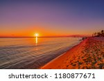 sunset over the sea of the...   Shutterstock . vector #1180877671