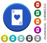 nine of hearts card round color ...   Shutterstock .eps vector #1180881211