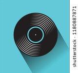 black vinyl record disc flat...   Shutterstock .eps vector #1180887871