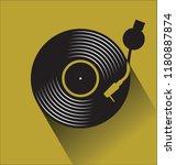 black vinyl record disc flat... | Shutterstock .eps vector #1180887874