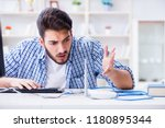 frustrated young man due to... | Shutterstock . vector #1180895344