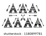 teepee tents and arrows tribal... | Shutterstock .eps vector #1180899781