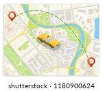 yellow cab banner isometric.... | Shutterstock .eps vector #1180900624