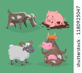 cute cartoon farm animals set.... | Shutterstock .eps vector #1180925047