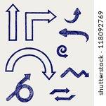 vector arrows. doodle style.... | Shutterstock . vector #118092769