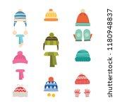 hats winter warm. hats with...   Shutterstock .eps vector #1180948837