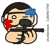 emoji with paintball game... | Shutterstock .eps vector #1180967704
