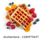 waffles decorated with honey... | Shutterstock . vector #1180975657