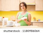 young woman cleaning and... | Shutterstock . vector #1180986064