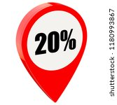 20 percent off on glossy red... | Shutterstock . vector #1180993867