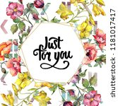 watercolor colorful bouquet of...   Shutterstock . vector #1181017417
