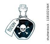 poison in bottle line art and... | Shutterstock .eps vector #1181021464