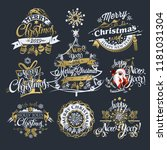 2019 christmas and new year... | Shutterstock .eps vector #1181031304