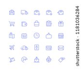 delivery shipping outline icons | Shutterstock .eps vector #1181036284