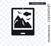 tablet with picture vector icon ... | Shutterstock .eps vector #1181043187