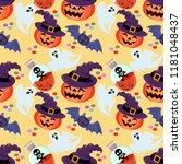 pumpkin wear witch hat seamless ... | Shutterstock .eps vector #1181048437