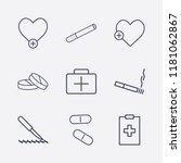 outline 9 hospital icon set.... | Shutterstock .eps vector #1181062867
