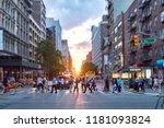 diverse crowd of people walking ... | Shutterstock . vector #1181093824