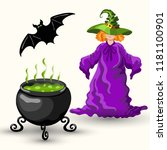 cartoon style young witch in... | Shutterstock .eps vector #1181100901