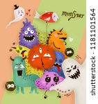 monster family illustration | Shutterstock . vector #1181101564
