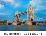 tower bridge that crosses river ... | Shutterstock . vector #1181101741