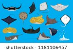 various cute ray stingray... | Shutterstock .eps vector #1181106457
