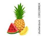 pineapple and a slice of... | Shutterstock .eps vector #1181108824