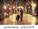 couple walking at alley in... | Shutterstock . vector #118111075