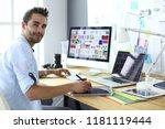 portrait of young designer... | Shutterstock . vector #1181119444