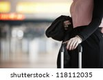 Businesswoman is waiting at the airport - selective focus - stock photo
