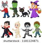 cartoon happy little kids with... | Shutterstock . vector #1181124871