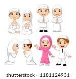 cartoon muslim kid collection... | Shutterstock . vector #1181124931
